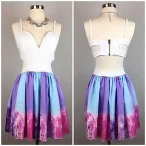 Tye Dye Cut Out Dress with Circle Skirt